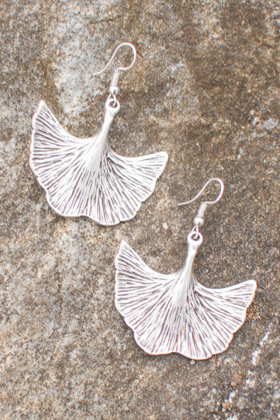 Gingko Leaf Zamak Earrings