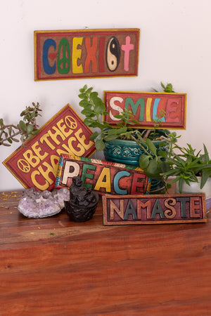 Hand Carved Inspirational Sign