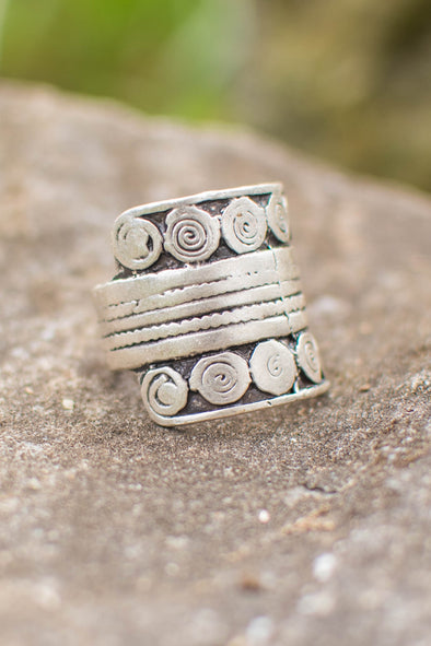 Merry Band of Spirals Adjustable Zamak Ring