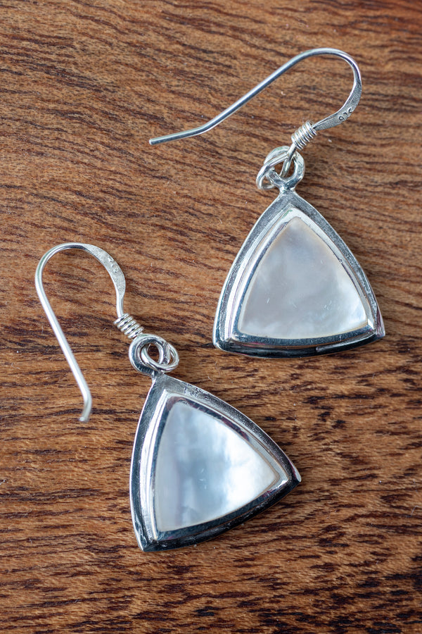 Mother Of Pearl Triangle Earrings - Mexicali Blues