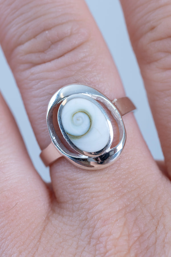Oval Shiva Eye Sterling Ring - Mexicali Blues