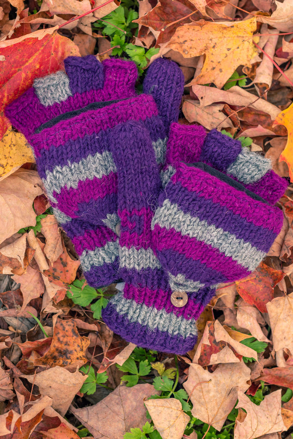 Patterned Convertible Fleece Lined Mittens
