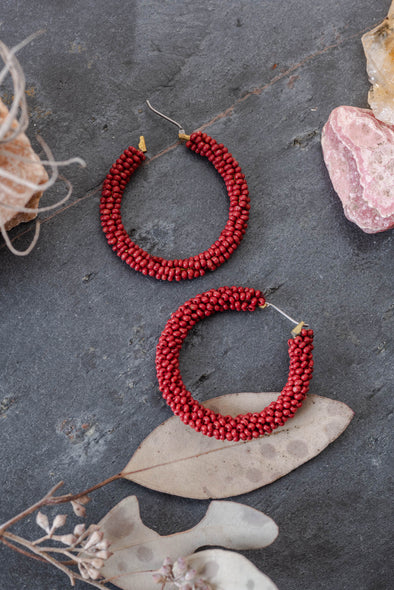 Seed Beaded Hoop Earrings