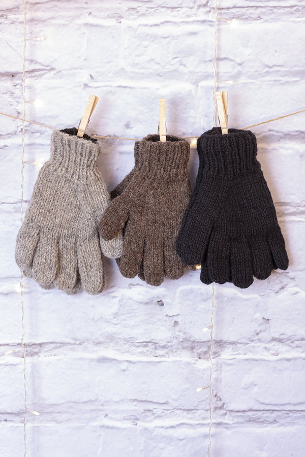 Solid Colored Fleece Lined Wool Gloves