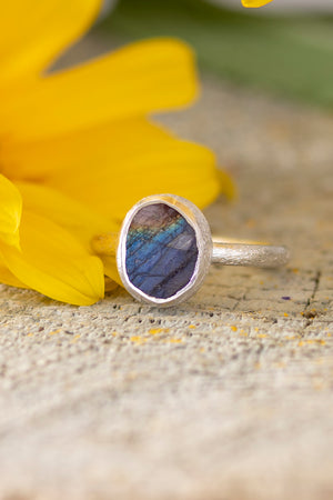 Sterling Rough Cut Gem Ring