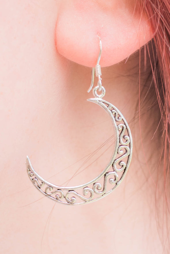 Sterling Silver New Moon Earrings