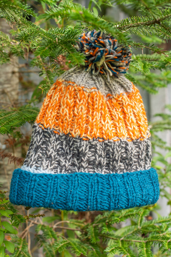 Striped Makalu Pom Pom Hat