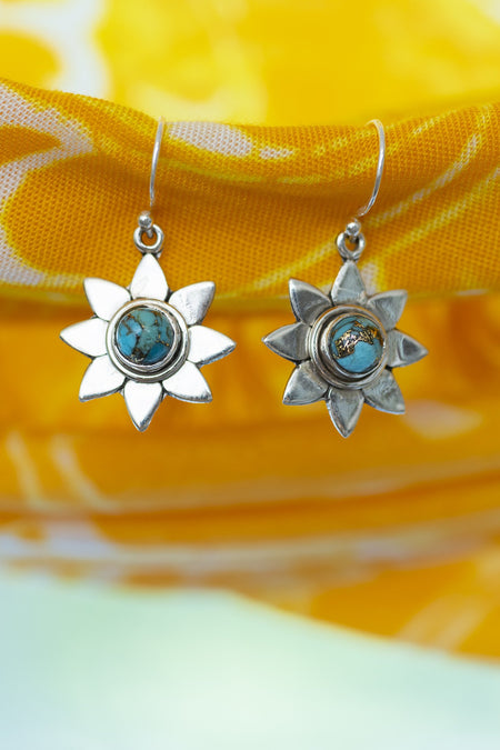 Sunflower Gemstone Earrings - Mexicali Blues