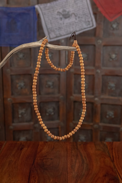 Wooden Mala Bead Necklace