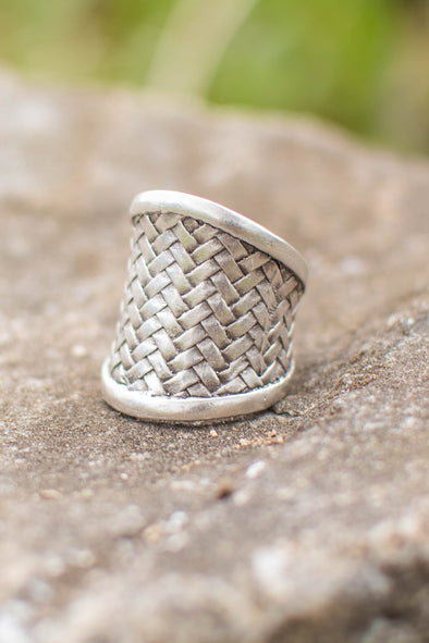 Woven Wisdom Adjustable Zamak Ring