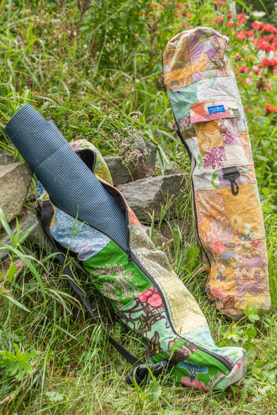 Zippered Java Patchwork Yoga Mat Bag