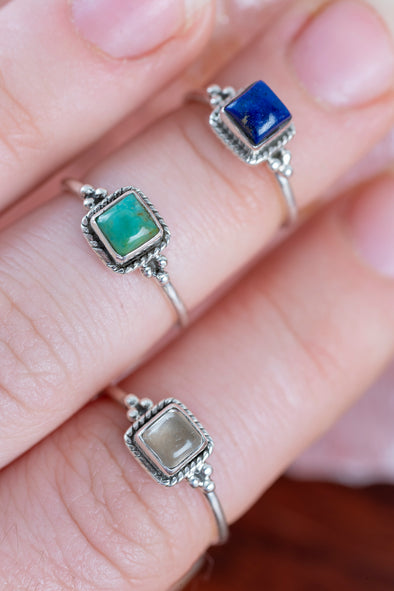 Square Gem Midi Ring - Mexicali Blues
