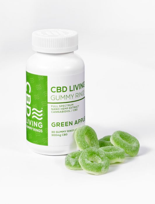 CBD Living Green Apple Gummy Rings Bottle - 300 MG