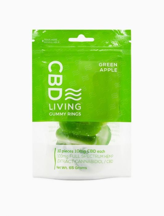 CBD Living Gummy Rings Bag Green Apple - 100mg