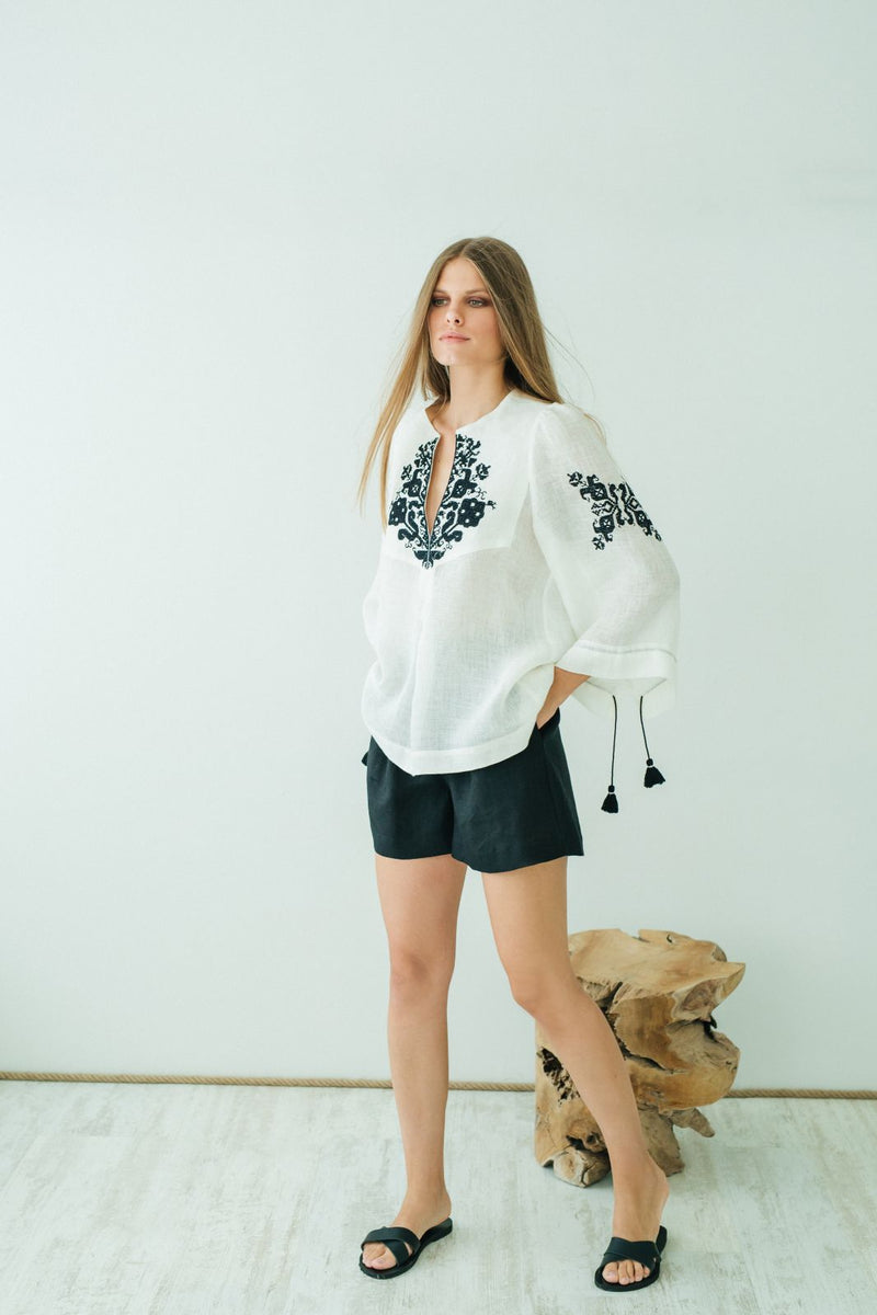 Persephone Embroidered Blouse Off White Black