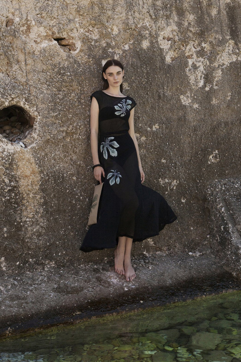 Syko Net Embroidered Black Long Dress