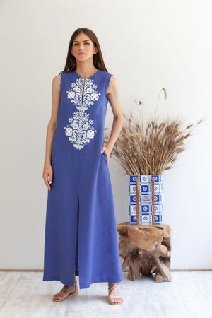 Astypalaia Embroidered Sleeveless Long Kaftan