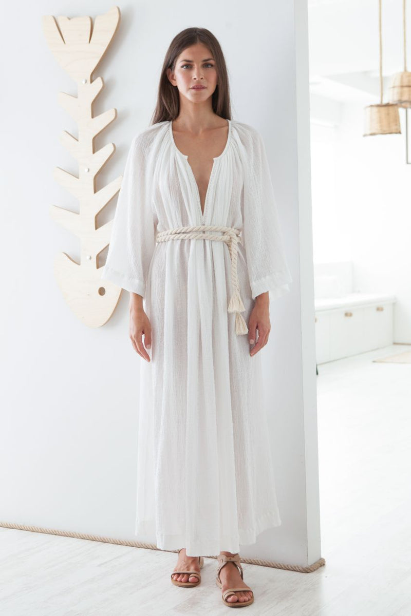 Delos Hand Embroidered Long Kaftan