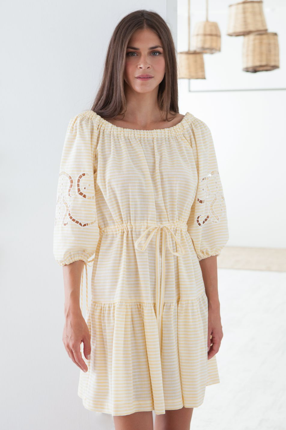 Iphigenia Cut Embroidered Striped Dress