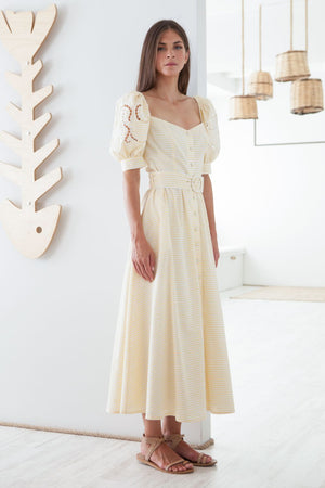 Iphigenia Cut Embroidered Striped Long Dress
