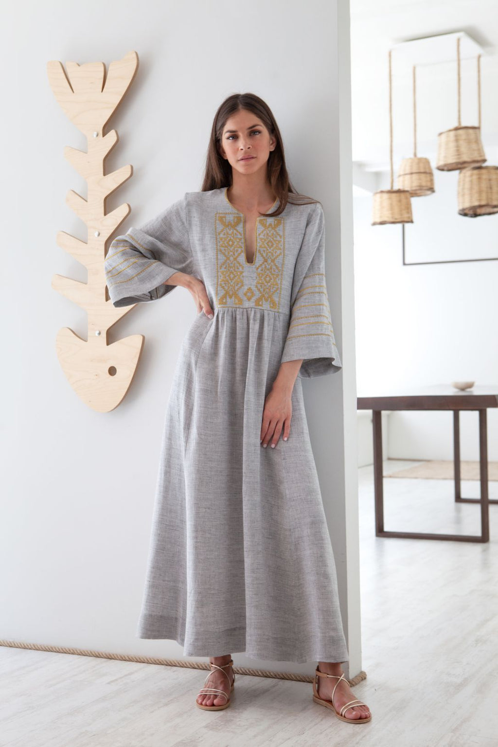 Iro Embroidered Long Kaftan