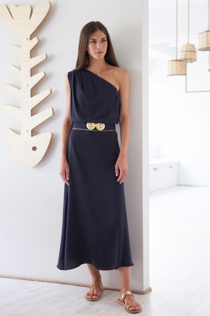 Kaliroi One Shoulder Dress with Golden Buckles