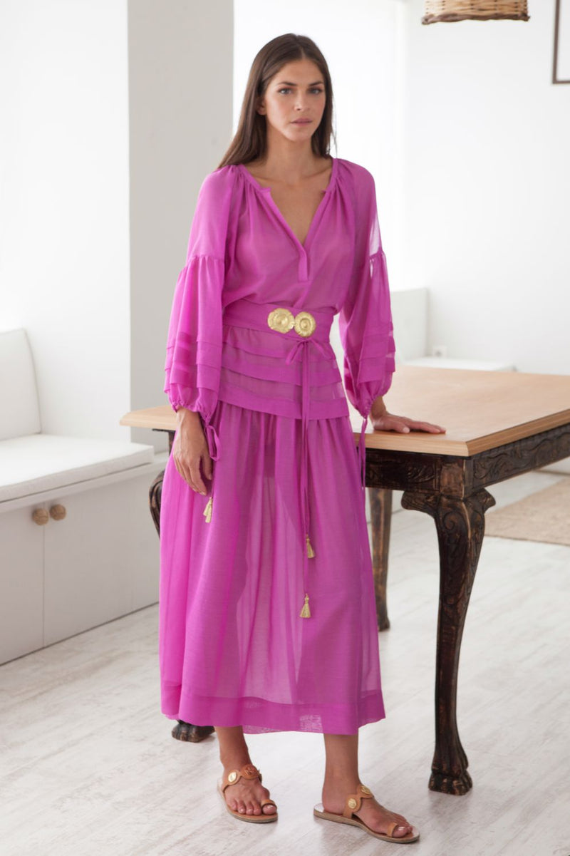 Mykonos Long Dress with Golden Buckles and Tassels