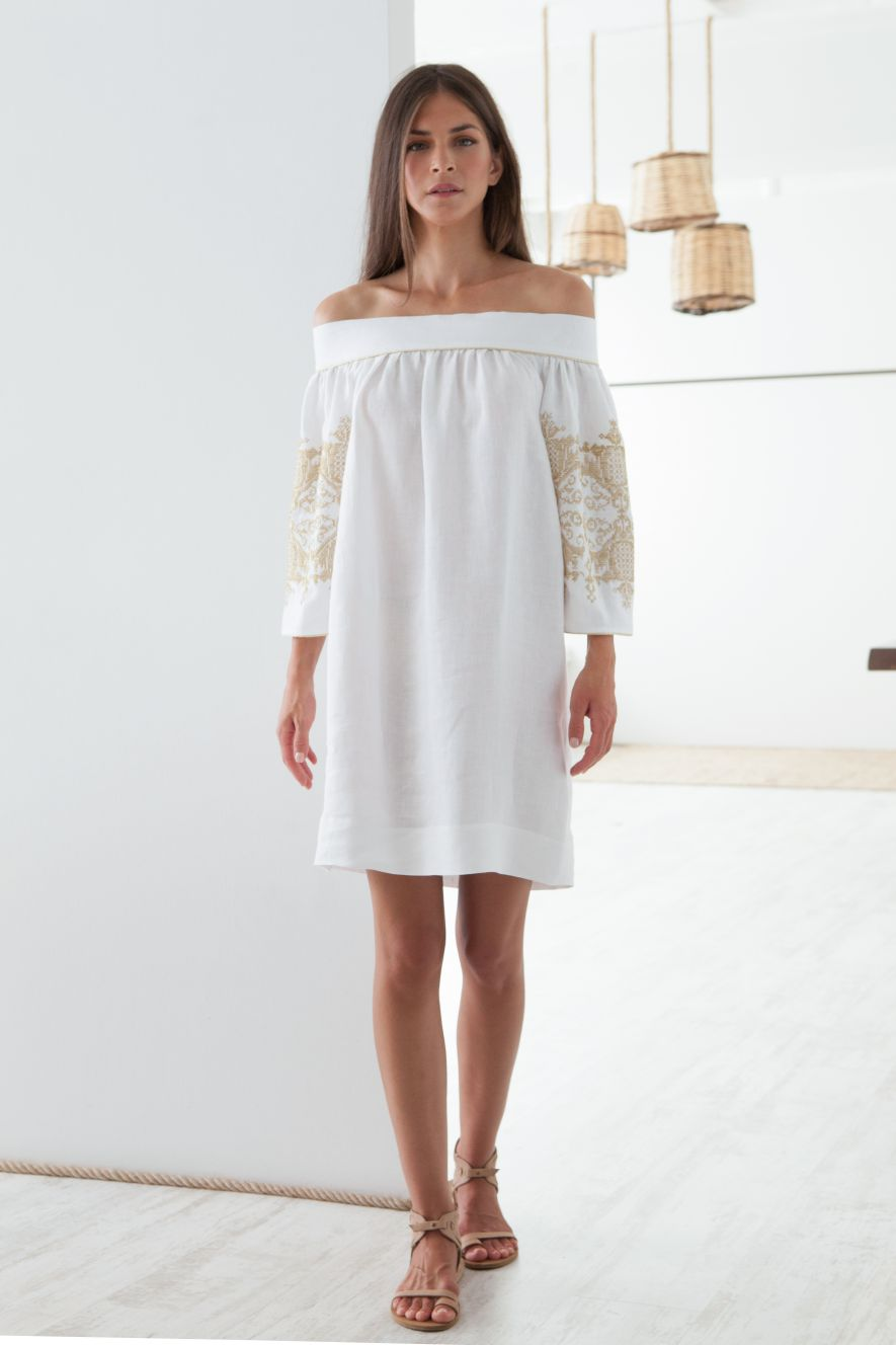 Penelope Embroidered Off Shoulder Dress