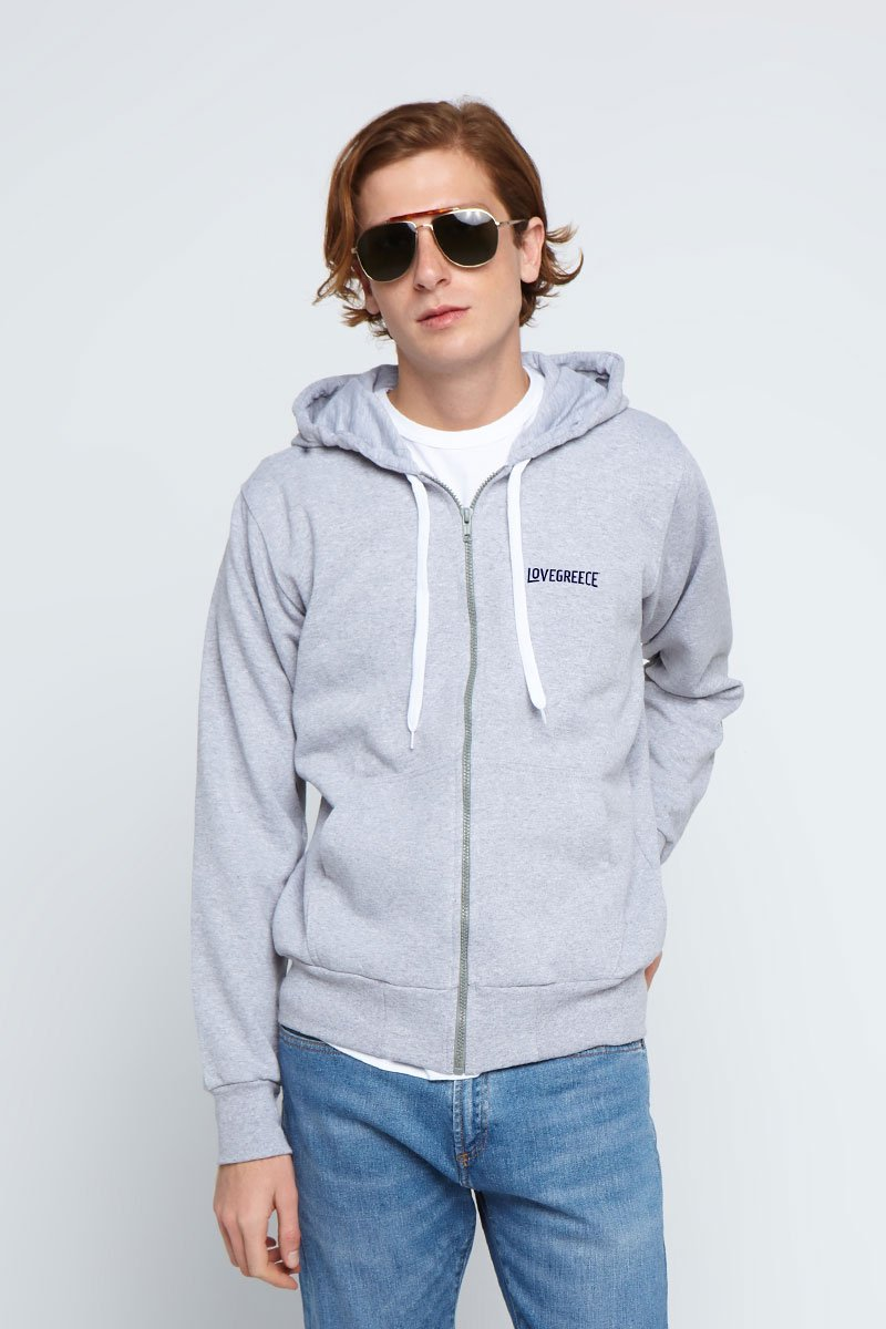 The Lovegreece Hoodie™ – Men / Zip – Grey