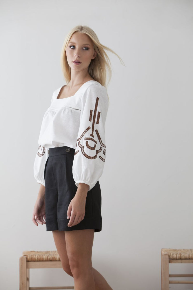 Ligeia Cut Out Embroidered Blouse