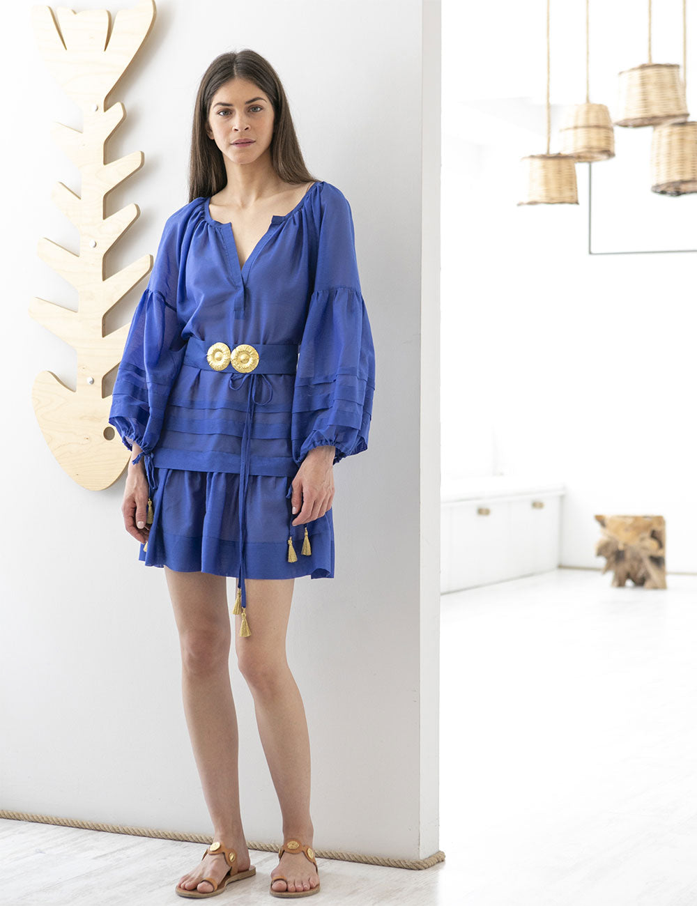 Mykonos Mini Kaftan with Golden Buckles and Tassels