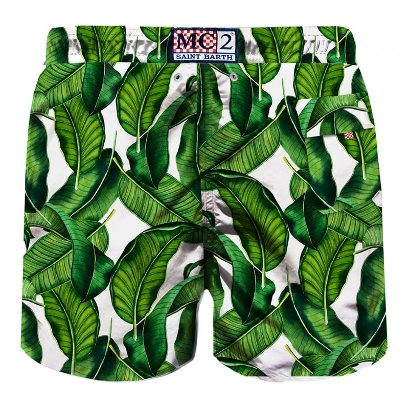 MID-LENGTH SWIM SHORT BANANA LEAVES