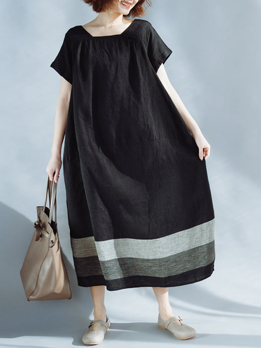 Casual Plus Size Linen Square Neck Shift Dress