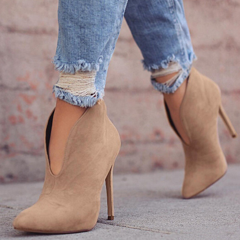 Ankle Boots High Stiletto Heel Pointed Toe V Shape Cut Suede Boots