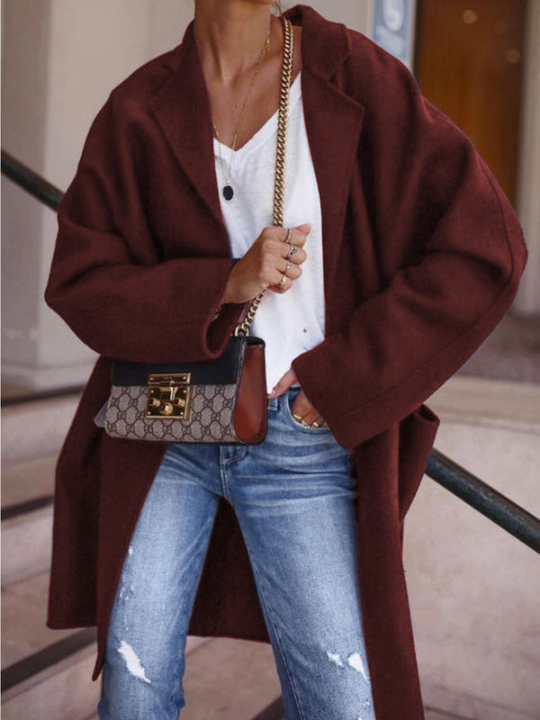 Casual Over Sized Lapel Cotton-Blend Outerwear Coat