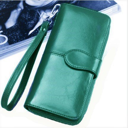 Oil Wax Leather Wallets Women Handbag Large Zipper Coin Purse Card Case