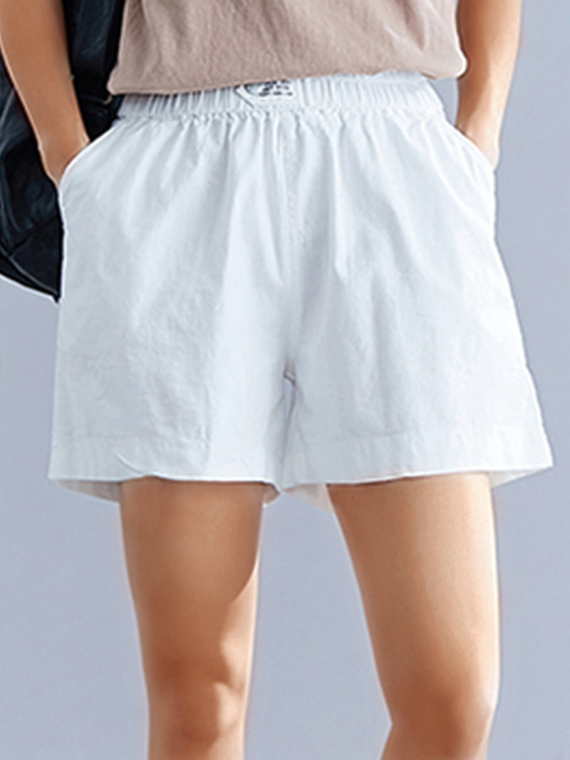 Plus Size Women Cotton And Linen Solid Loose Casual Shorts
