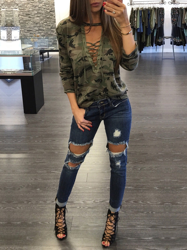 Women Camo Lace Up V Neck Top