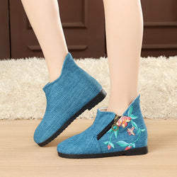 Brown Vintage Flat Heel Cotton Flower Daily Winter Boots