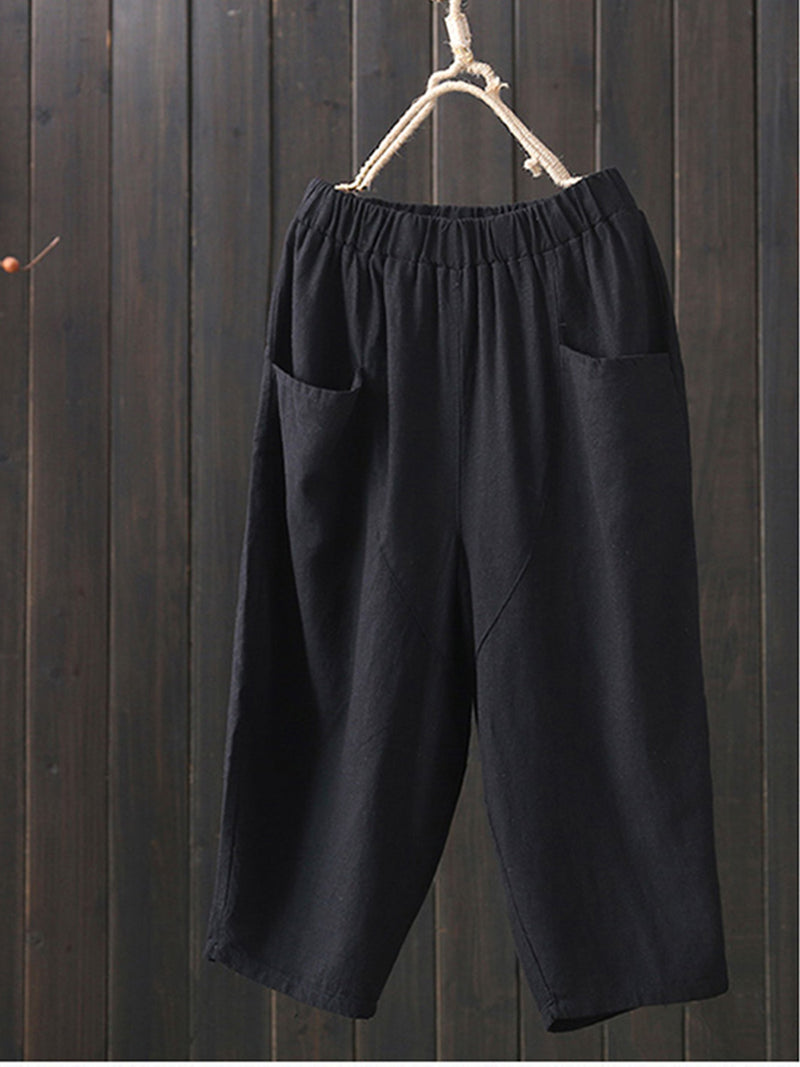 Women Plus Size Casual Solid Colour Pants
