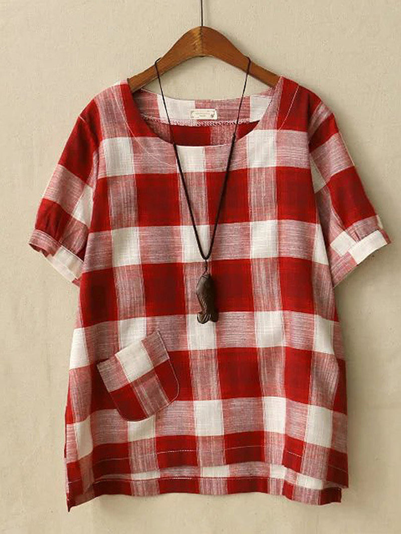 Women Casual Loose Tops Tunic Plaid Blouse Shirt
