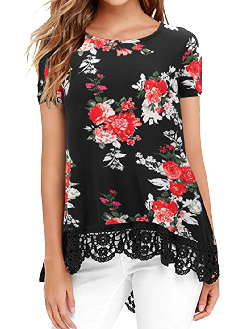 Women Casual Printed Lace Tops Tunic T Shirt