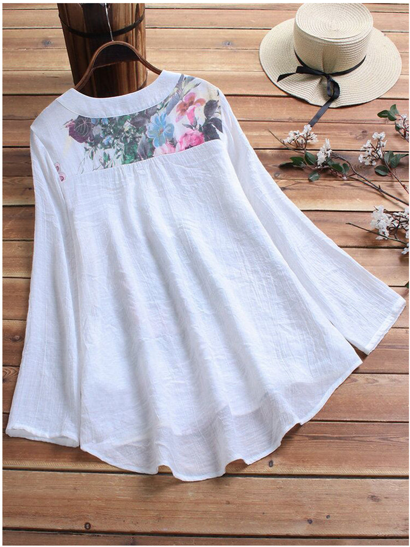 Women Casual Printed Tops Tunic Blouse Shirt