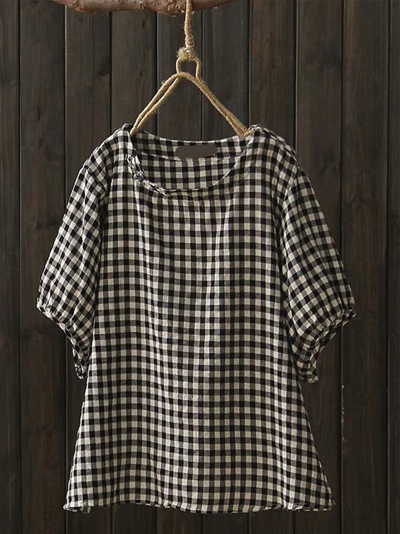 Women Casual Pluse Size Tops Tunic Plaid Blouse Shirt