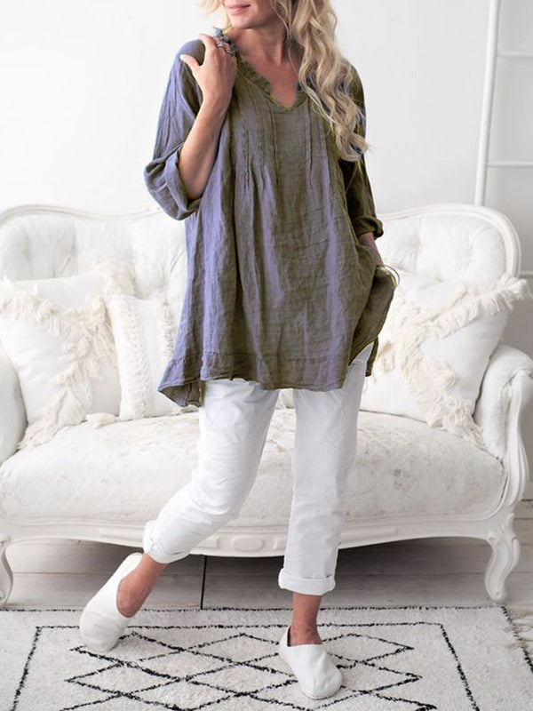 Women Casual Tops Long Sleeve Cotton Patchwork Summer Tops
