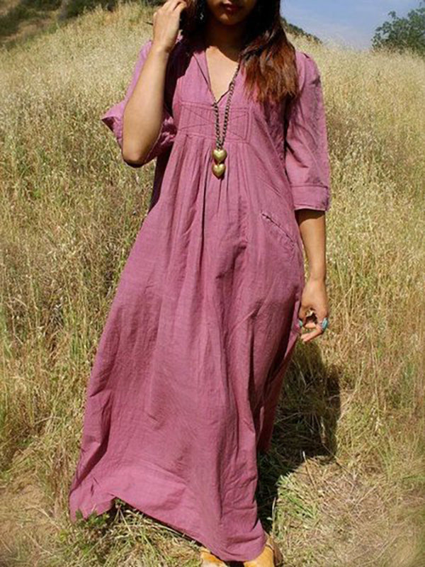 Deep Pink Cotton-Blend Half Sleeve Big Hem Dress Dresses