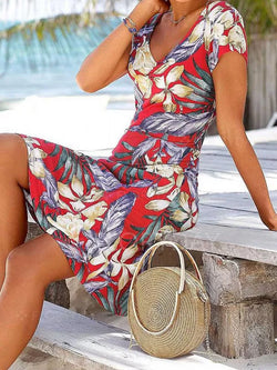 Red Short Sleeve Patchwork Cotton-Blend V Neck Dresses