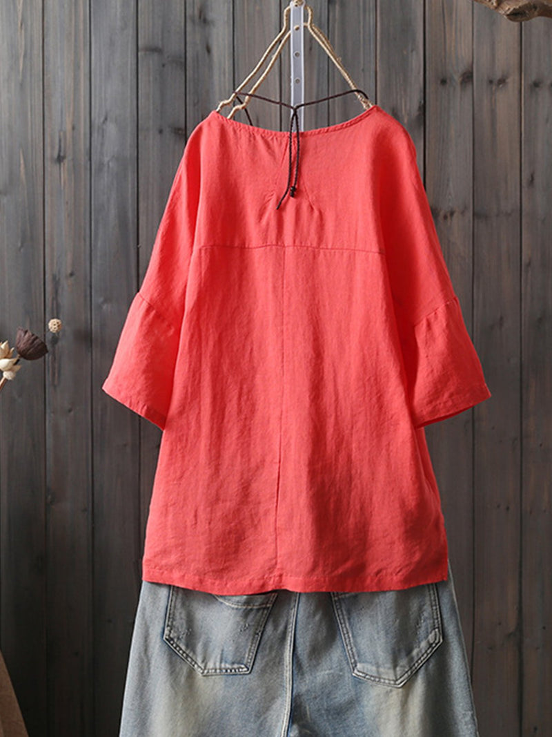 Round Neck Short Sleeve Vintage Shirts & Tops