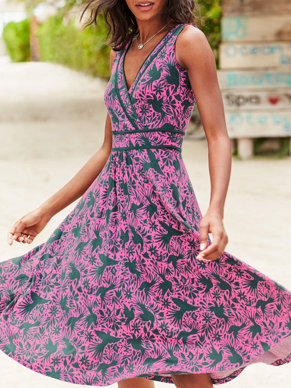 Purple Holiday Patchwork Swing Dresses