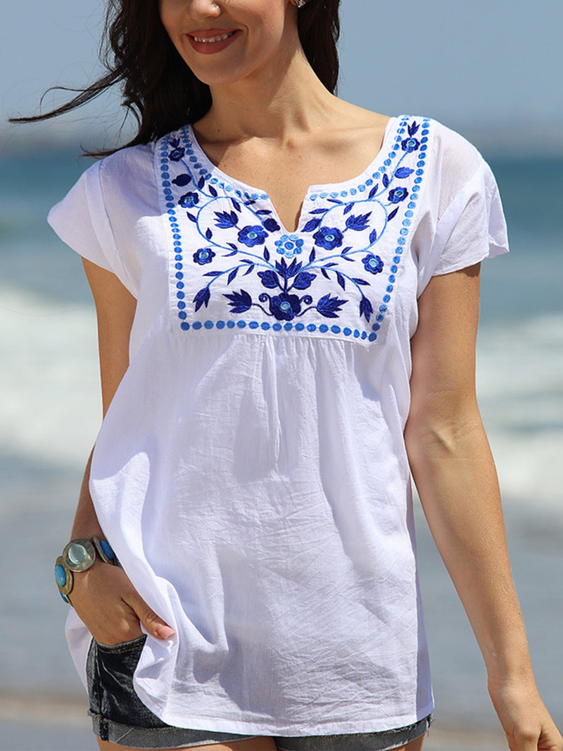 White V Neck Holiday Cotton-Blend Printed Shirts & Tops